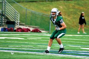 Nick Glasier photo: Mercyhurst College junior safety Byrant Kimball, son of Athletic Director Joe Kimball, looks to keep Gannon's wide receivers in check.
